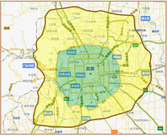 北京配送范围示图