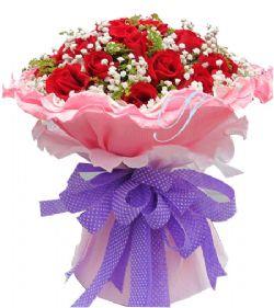 12枝红玫瑰 满天星 配叶图片